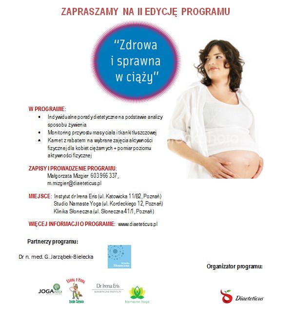 Dieta dla kobiet w ciąży - plakat II edycji programu - Zdrowa i sprawna w ciąży